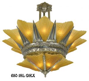 "42"" French Marseille 18 Light 2 Tier Art Deco Slip Shade Chandelier (650-18L-DKX)"