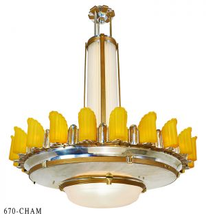 "54"" Diameter Art Deco Empire Series Chandelier Large Commercial Lighting LED Lights (670-CH)"