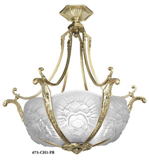 Art Nouveau Short French 6 Light Bowl Chandelier (675-CHX-X)