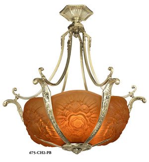 Art-Nouveau-Short-French-6-Light-Bowl-Chandelier-(675-CHX-X)