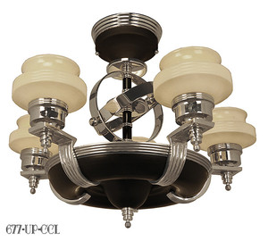 American Art Deco Streamline Modernist Chandeliers (677-UP-CCL)