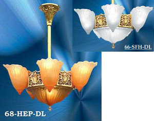 Art Deco Lighting Chandeliers Slip Shade Fleur De Lis Short 6 Light (68-HEP-DL)