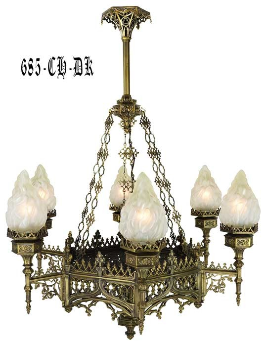 alternate view 0 ... - Vintage Hardware & Lighting - Large Gothic Chandelier (685-CH-DK)