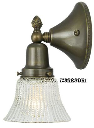Victorian Style Close-To-The-Wall Single Sconce with Beaded Ribbed Shade (703RESDK1)