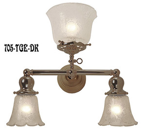 Victorian Gas & Electric Triple Sconce In Antique Brass Finish (705-TGE-DK)
