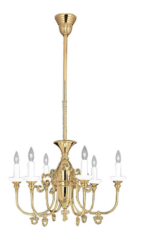Victorian Chandelier, 6 Arm Gas Candle, Circa 1890 (717-HSA-CH)