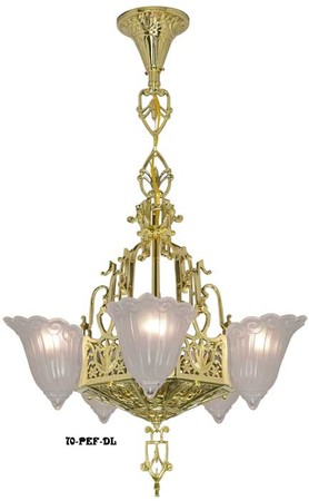 Art Deco Ceiling Lights Chandeliers Tall 5 Light Fleur De Lis Series (72-FEP-DL)