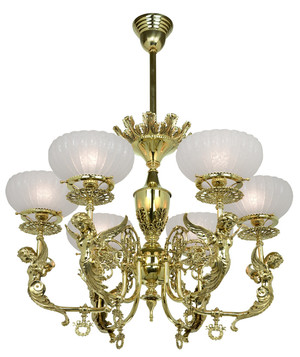 Victorian Chandelier - Goddess Figural 6 Light Chandelier (725-AHG-CH)