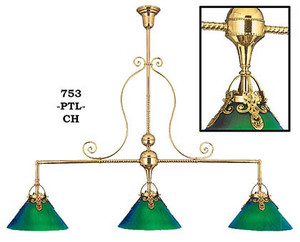 Victorian Pool Table Triple Light C. 1900 (753-PTL-CH)