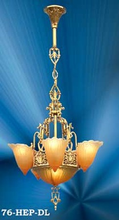 Art Deco Hanging Lights Chandeliers 6 Light Slip Shade Fleur De Lis Series (76-HEP-DL)