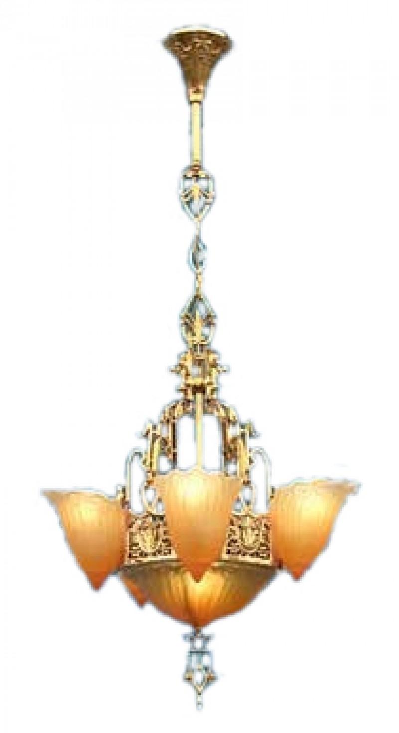 Art Deco Hanging Lights Chandeliers 6 Light Slip Shade Fleur De Lis Series 76 Hep Dl