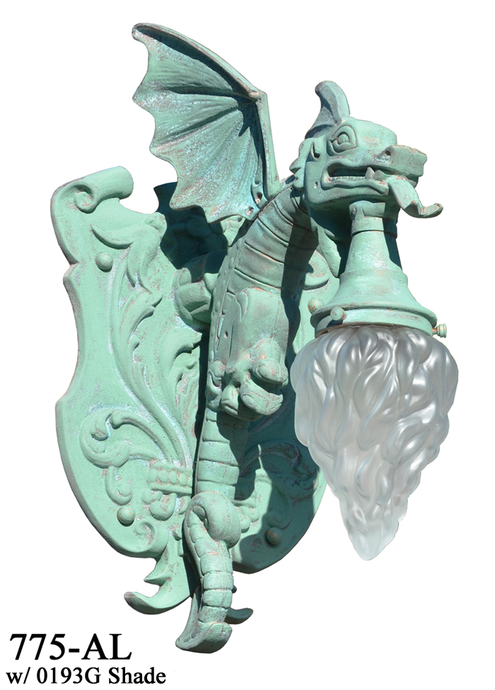 Vintage Hardware Amp Lighting Large Winged Dragon Porch Light Wall Sconce 775 Al
