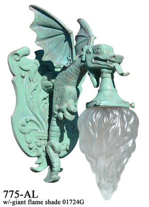 Large Winged Dragon Porch Light Wall Sconce (775-AL)