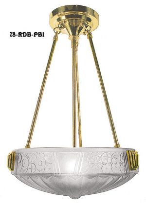 Art Deco Rodded Ceiling Bowl Fixture with Choice of Finish and Shade (78-RDB-X)