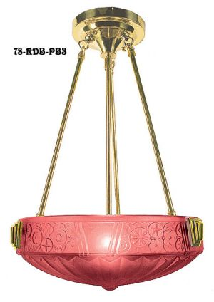 Art-Deco-Rodded-Ceiling-Bowl-Fixture-with-and-Shade-(78-RDB-X)