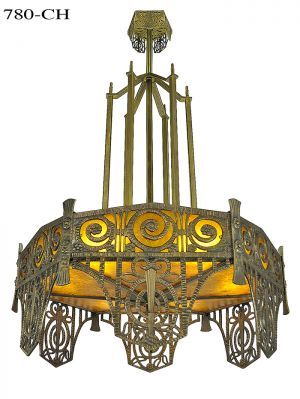 Art Deco Design Large Chandelier Mica Panel Ceiling Light Fixture (780-CH)