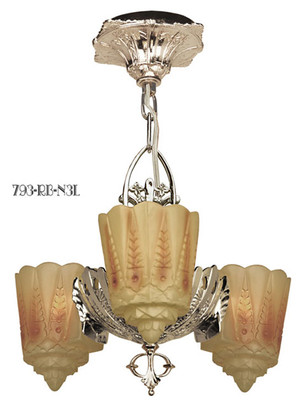Art Deco Chandeliers Lighting Two In One Series Recreated Slip Shade 3-Light by Lincoln (793-RB1-N3L)