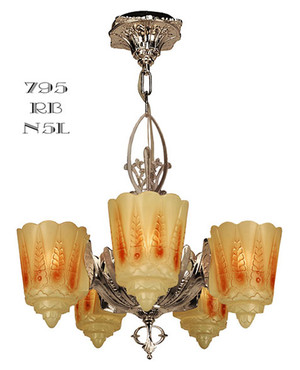 Art Deco Lighting Fixtures Chandeliers Two In One Series by Lincoln Recreated Slip Shade 5-Light (795-RB1-N5L)