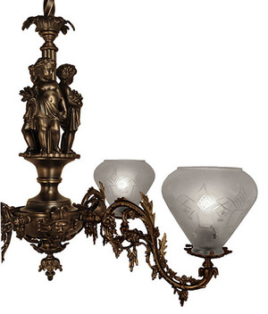 Victorian-Chandelier---Neo-Rococo-Victorian-4-Arm-Gas-Light---Allegorical-Gasolier-Ca.-1850-(832-QRC-AG)