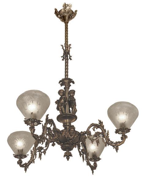 Vintage hardware lighting reproduction gas lighting victorian chandelier neo rococo victorian 4 arm gas light allegorical gasolier ca 1850 aloadofball Choice Image
