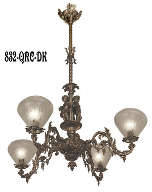 Victorian Chandelier - Neo Rococo Victorian 4 Arm Gas Light - Allegorical Gasolier Ca. 1850 (832-QRC-AG)