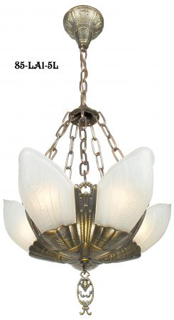 Art-Deco-Lighting-Chandeliers-Slip-Shade-Fleurette-5-Light-With-Frosted-Shades-(85-LA1-5L)