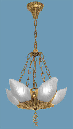 Art Deco Lighting Chandeliers Slip Shade Fleurette 5 Light With Frosted Shades (85-LA1-5L)