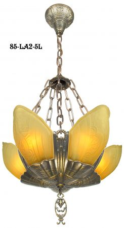 Art-Deco-Chandeliers-Slip-Shade-Fleurette-5-Light-With-Amber-Shades-(85-LA2-5L)