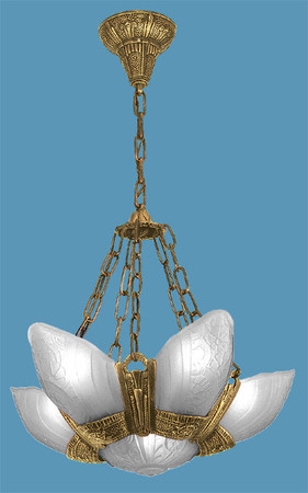 Art Deco Lighting Fixtures Slip Shade Fleurette 6 Light Chandeliers With Frosted Shades (86-LA1-6L)