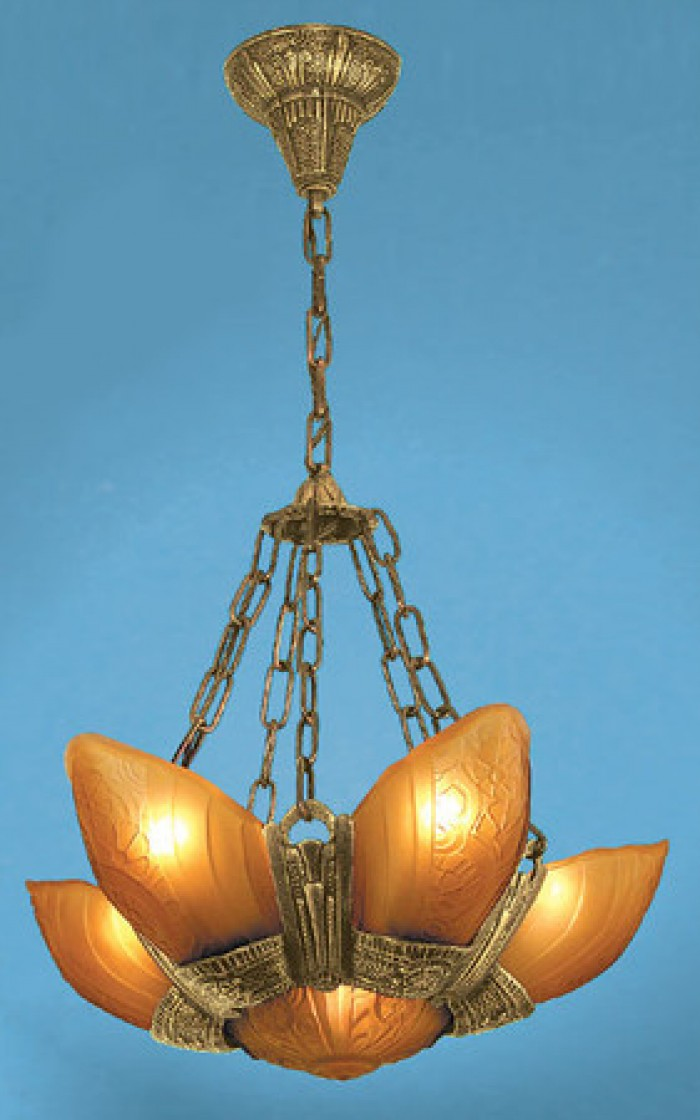 Art-Deco-Fixtures-Chandeliers-Slip-Shade-Fleurette-6-Light-With-Amber-Shades-(86-LA2-6L)