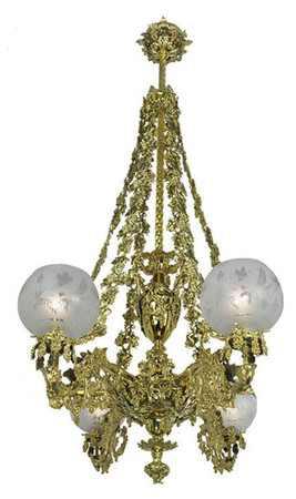 Victorian Chandelier - Neo Rococo Cornelius Grape & Leaf 4 Light Chandelier (874-QCH-RG)