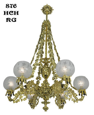 Victorian Chandelier - Neo Rococo Cornelius Grape & Leaf 6 Light Chandelier (876-HCH-RG)