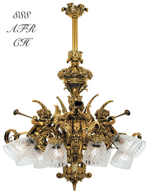 Victorian Cherub Or Cupid French 9 Light Chandelier (888-AFR-CH)