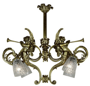 Victorian Cherub Or Cupid French 2 Light Pendant (888-AFR-PD)