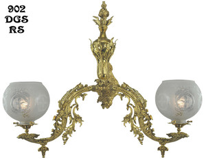 Victorian Wall Sconce - Neo Rococo C 1857 Gaslight with 2 Arms (902-DGS-RS)