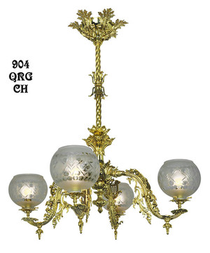 Victorian Chandelier - Neo Rococo 4 Light By Starr-Fellows Circa 1856 (904-QRG-CH)