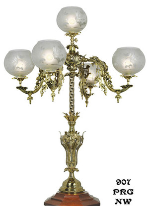 Victorian Newel Post Light - Neo Rococo 5 Arm (907-PRG-NW)