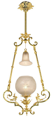 Victorian Pendant Light - Neo Rococo Hall Or Entry Gas Light Circa 1880 (910-RGP-HL)