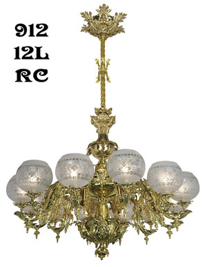 Victorian Chandelier - Neo Rococo Starr-Fellows Circa 1856 12 Light (912-12L-RC)