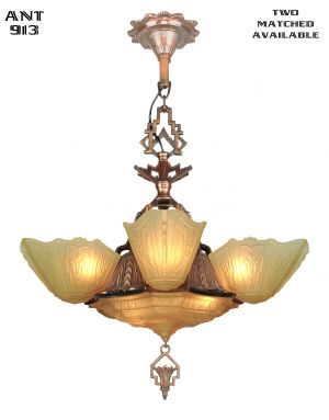 Art Deco 6 Shade Chandelier (ANT-913)