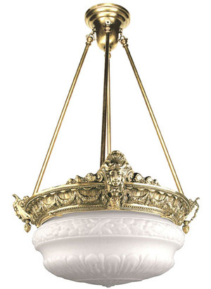 Empire Rod Mounted Chandelier 4 Lamp (92-RCB-PB)