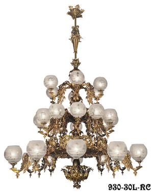Victorian Chandelier Recreated Gaslight Neo Rococo 3 Tiers with 30 Lights  (930-30L-RC)