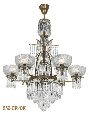 Oxley Giddings 6 Light Crystal Chandelier Antique Finish (950-CR-DK)