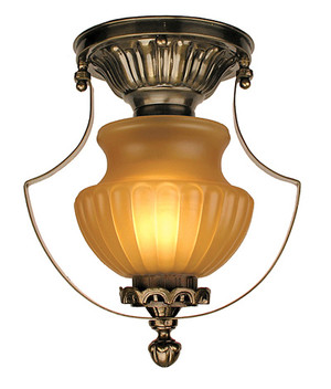 Victorian Low Ceiling Light With Amber Shade (96-MP2-CCL)