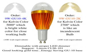 LED Light Bulb 9 Watt Dimmable with GU10 Base CA Title 24 Compliant (9W-GU10-X)