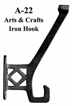 Arts & Crafts or Mission Style Iron Hook (A-22)