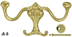 Victorian Style Curved Brass Double Hook (A-5)