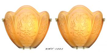 Magnificent LARGE and Imposing Pair of French Embossed Shade Art Deco Sconces (ANT-1002)