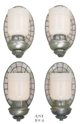 American, Set of Four Art Deco Mock Mirror Back Design Sconces (ANT-1004)