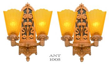 Edwardian pair of LOVELY Double Arm Sconces (ANT-1005)